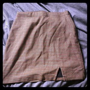 Menswear Style Mini Skirt with Slit